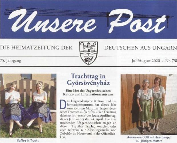 Győrsövényházi cikkek sora az Unsere Postban