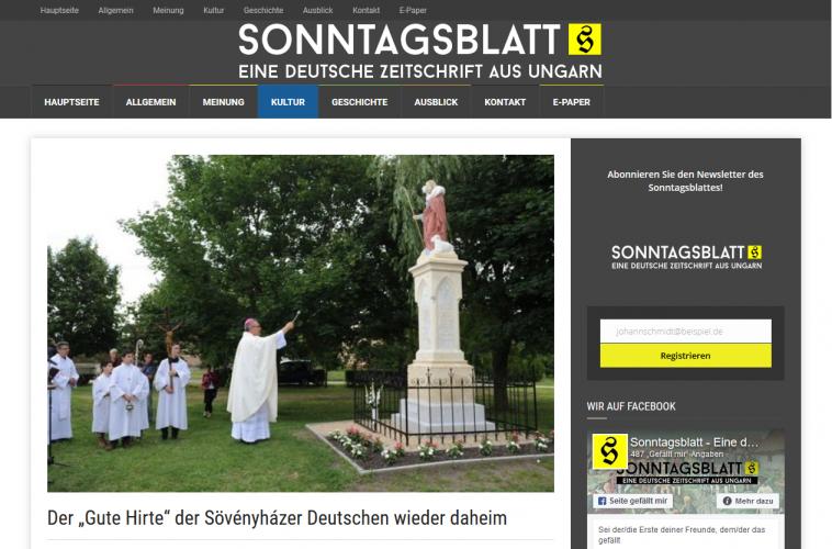 A Sonntagsblatt és a győri egyházmegye is beszámolt a Jó pásztor szobor avatásáról